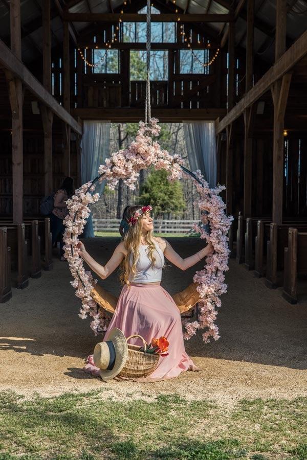 Flower swing at Dewberry Farm in NC