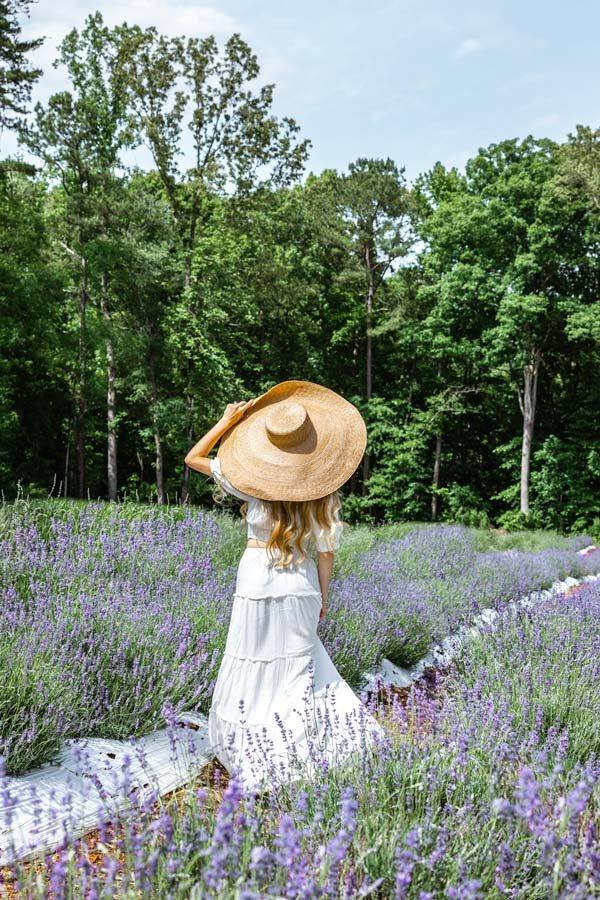 Walking through the Fields at the Lavender Oak Farm in Chapel Hill, NC. Wearing oversized sun hat and white dress.