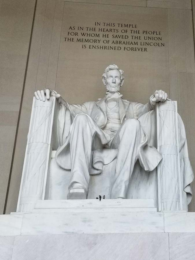 Statue of Abraham Lincoln at the Lincoln Memorial.