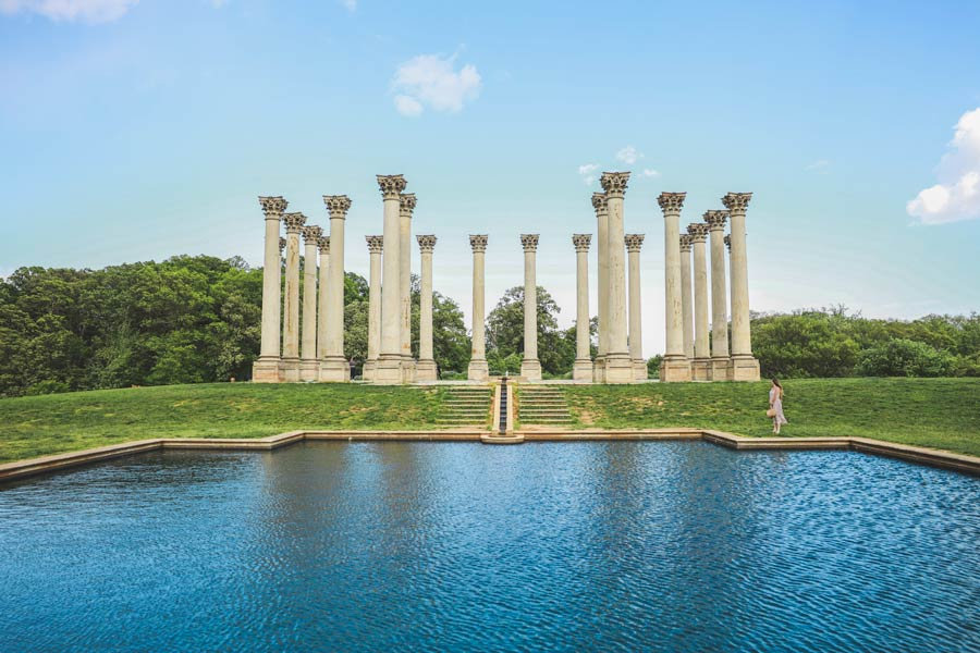 View of the reflection pond and the National Arboretum Capitol Columns.