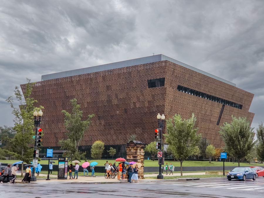 Outside of the National Museum of African American History in Washington,DC on a rainy day..