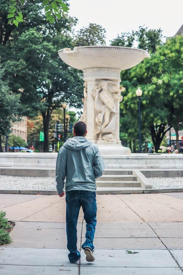 Dupont Circle Water fountain in Washington DC.