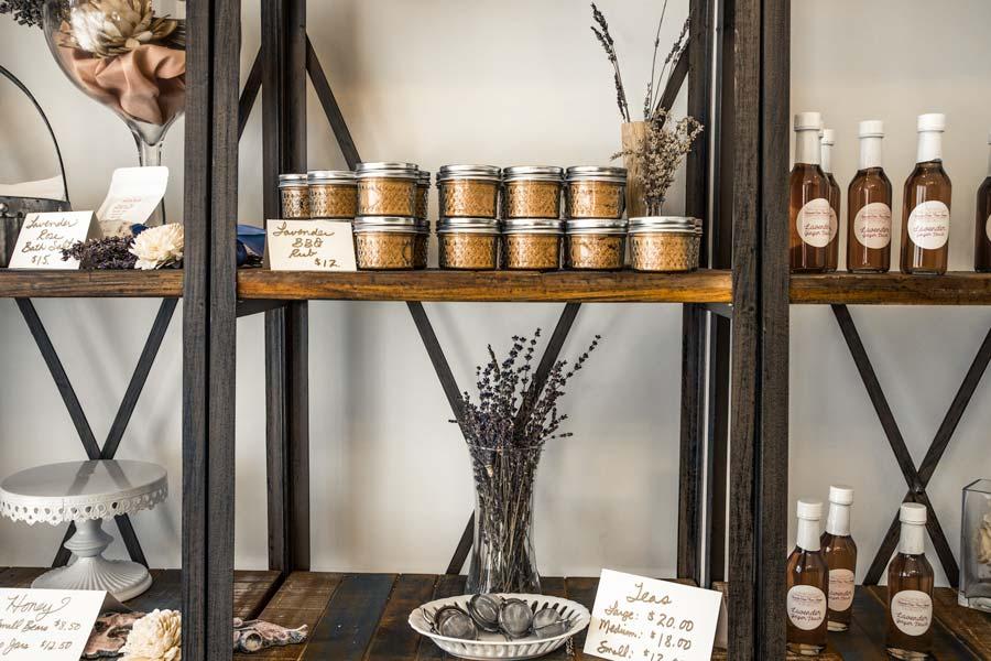 Inside Lavender Oaks Shoppe with shelves of Lavender goods in NC