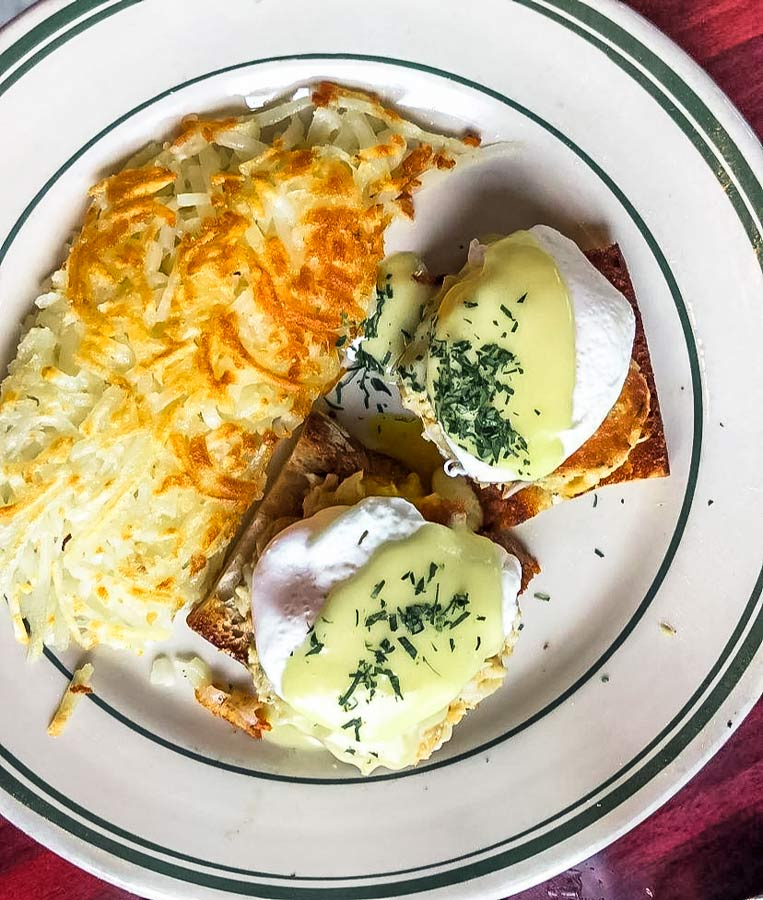 Eggs Benedict with crab and hash browns from Ted's Bulletin on 14th Street in Washington DC.