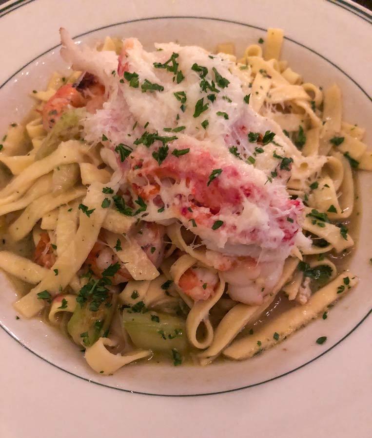 Dinner at Joe's Seafood and Prime Steak. Pasta seafood dish.