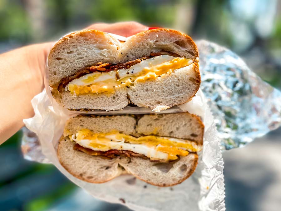 Bacon Egg and Cheese on a Bagel sandwich in New York is a must eat