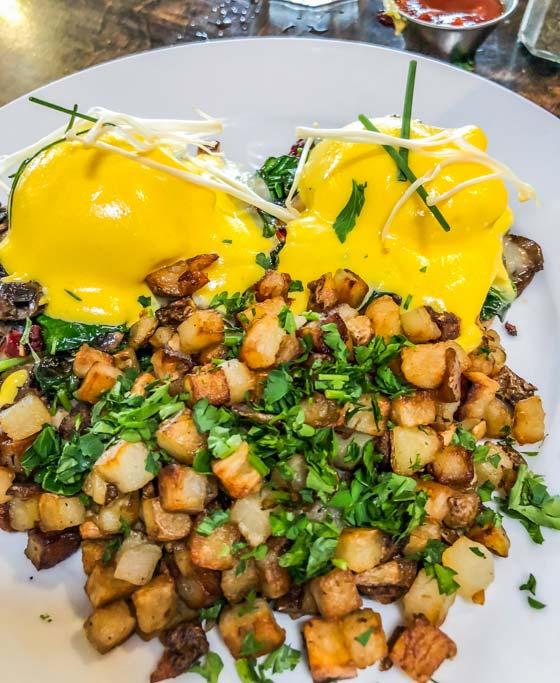 Blu Jam Cafe Eggs Benedict in Los Angeles