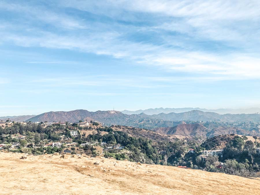 View the Hollywood Hills from Runyon Canyon Park