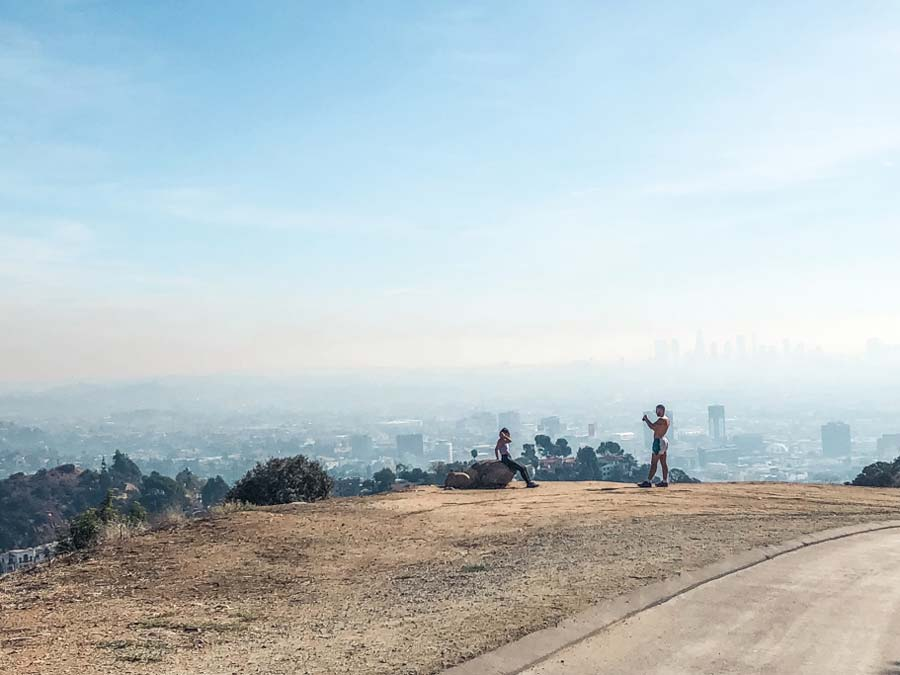 See Downtown Los Angeles Skyline from Runyon Canyon
