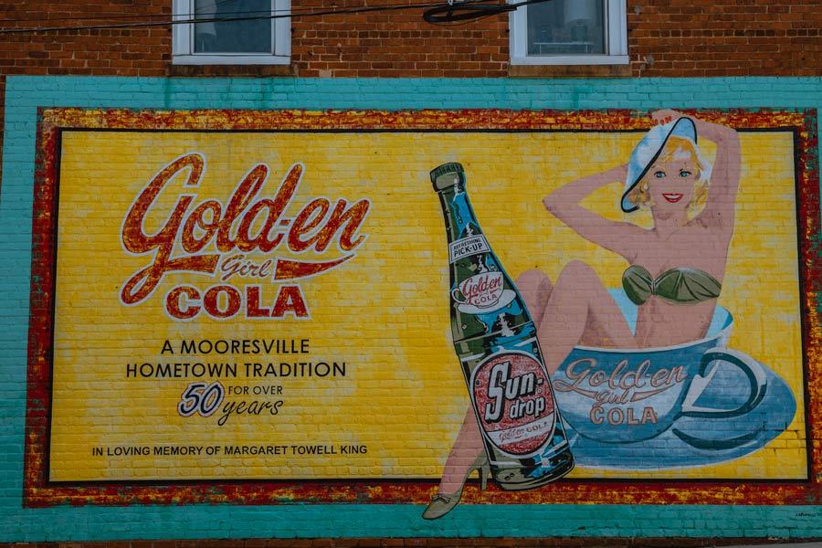 Golden Girl Cola Mural in Mooresville, NC