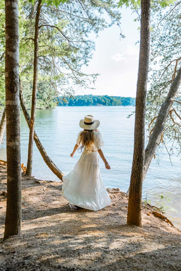 Lake Norman State Park wearing 2 white skirt and top with straw hat