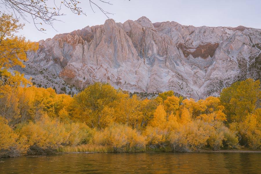 Mammoth Lakes California USA with fall foliage