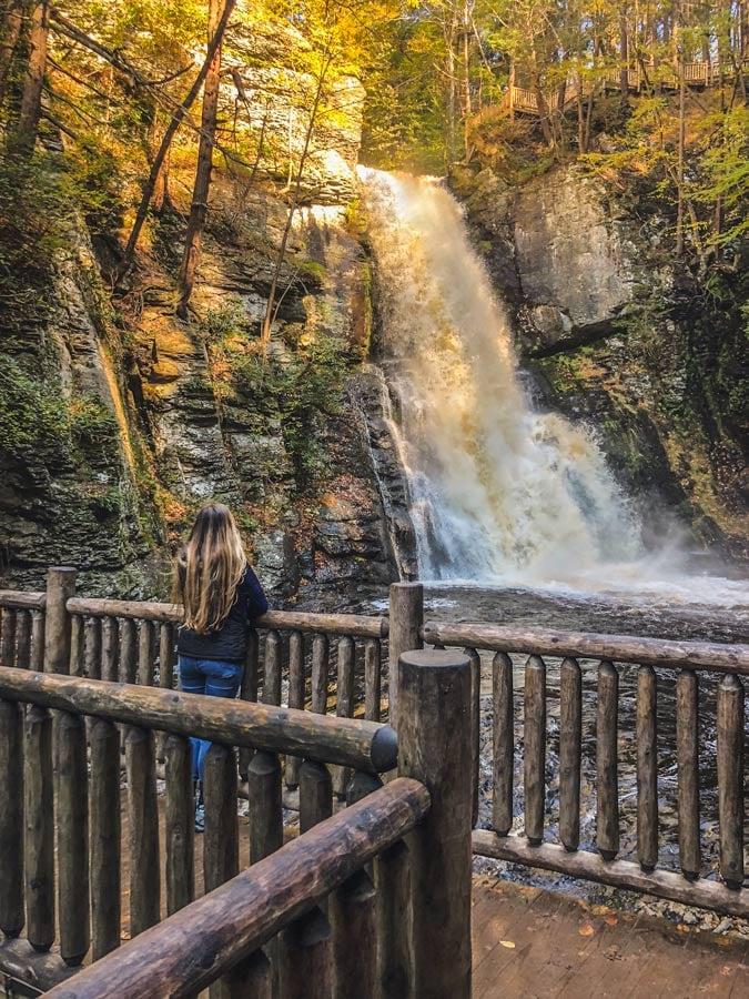 Bushkill Falls in the Poconos during fall USA