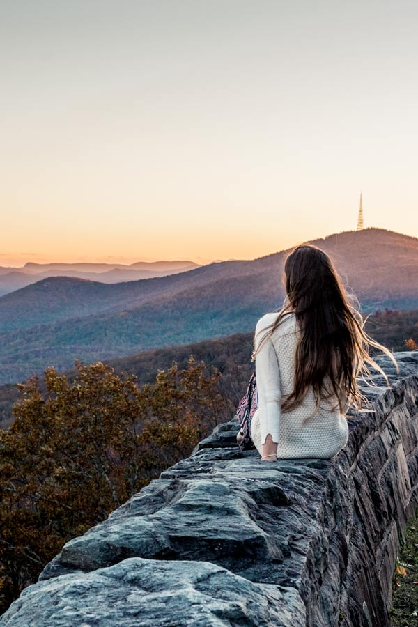 Grandfather Mountain NC at sunset on the Blue Ridge Parkway at sunset